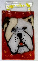 Art: Red Fused glass Bulldog by Artist Deborah Sprague
