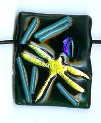 Art: Dragonfly Abstract Fused glass pendant by Artist Deborah Sprague