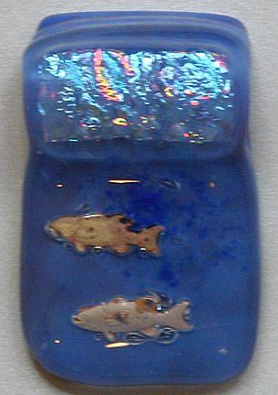 Art: Fishy fishy Fused Glass pendant by Artist Deborah Sprague