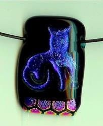 Art: Blue Kitty Fused Glass pendant by Artist Deborah Sprague