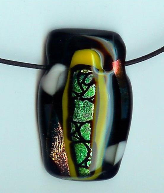 Art: Fused glass Geometric pendant by Artist Deborah Sprague