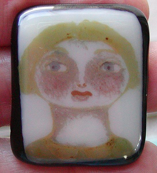 Art: Gwen Handpainted Fused glass pendant by Artist Dianne McGhee