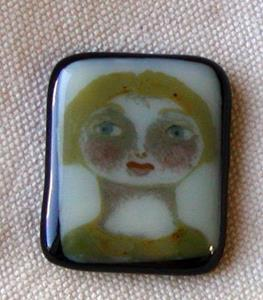 Detail Image for art Gwen Handpainted Fused glass pendant