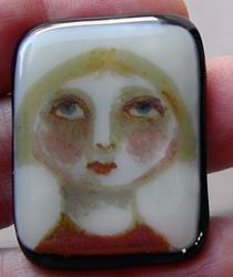 Art: Hannah Fused Glass Painted Pendant by Artist Dianne McGhee