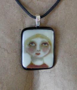 Detail Image for art Hannah Fused Glass Painted Pendant