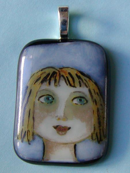 Art: Hand Painted Glass Pendant by Artist Dianne McGhee