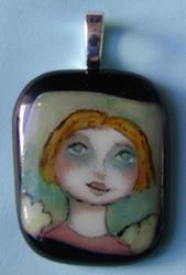 Art: Hand Painted Glass Angel Pendant by Artist Dianne McGhee