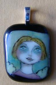 Detail Image for art Hand Painted Glass Angel Pendant