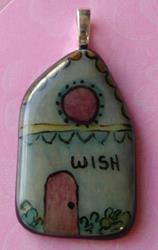 Art: Hand Painted Glass House Pendant by Artist Dianne McGhee