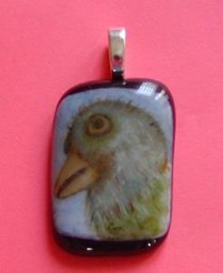 Detail Image for art Fused Glass Painted Pendant Bird