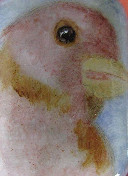 Art: Pink Canary Wildlife Painted Pendant by Artist Dianne McGhee