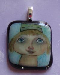 Art: Girl in hat hand painted pendant by Artist Dianne McGhee