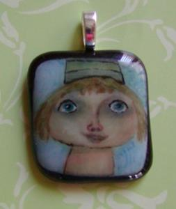 Detail Image for art Girl in hat hand painted pendant