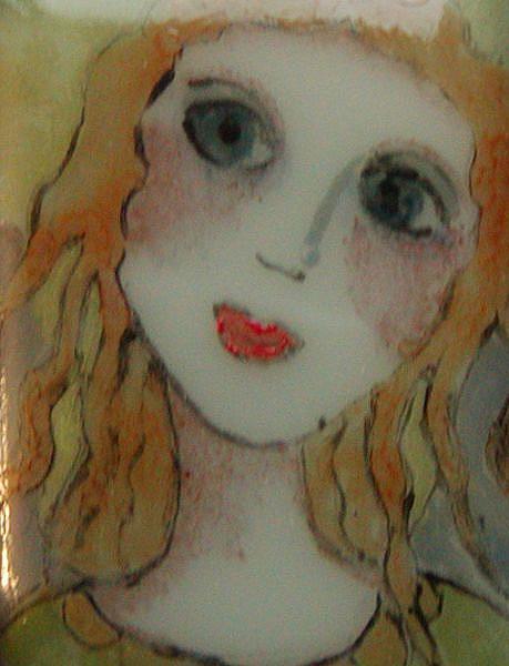 Art: Angel Painted Fused Glass Pendant by Artist Dianne McGhee