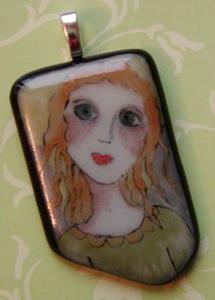 Detail Image for art Angel Painted Fused Glass Pendant