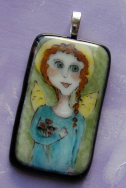 Art: Angel Fused Glass Painte Pendant by Artist Dianne McGhee