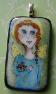 Detail Image for art Angel Fused Glass Painte Pendant