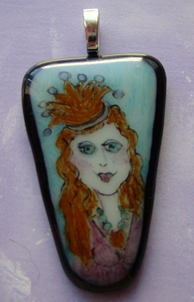 Art: Princess Fused Glass Painted Pendant by Artist Dianne McGhee
