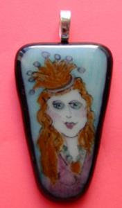 Detail Image for art Princess Fused Glass Painted Pendant