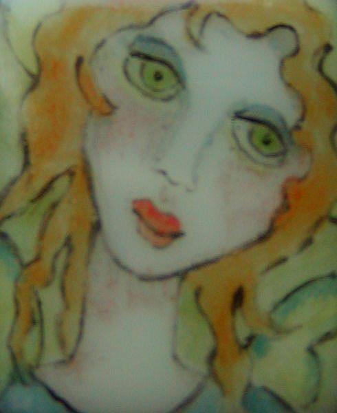 Art: Angel Fused Glass Painted Pendant by Artist Dianne McGhee