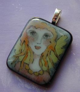 Detail Image for art Angel Fused Glass Painted Pendant