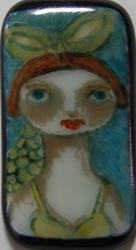 Art: Mermaid Fused Glass Painted Pendant by Artist Dianne McGhee