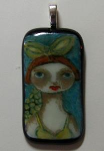 Detail Image for art Mermaid Fused Glass Painted Pendant