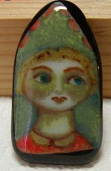 Art: Girl in the Window Painted Pendant by Artist Dianne McGhee