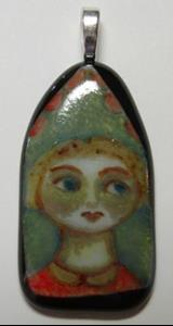 Detail Image for art Girl in the Window Painted Pendant