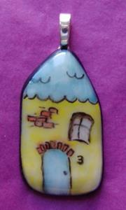 Detail Image for art Fused Painted House Pendant