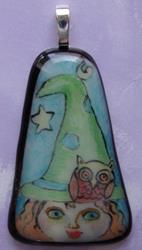 Art: The witch and the owl Glass Pendant by Artist Dianne McGhee
