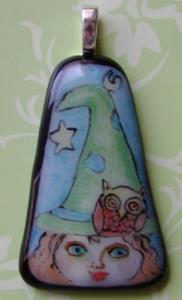 Detail Image for art The witch and the owl Glass Pendant