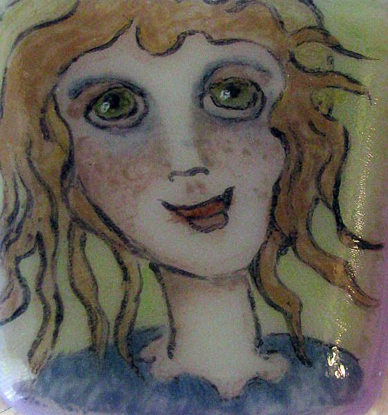 Art: Little Angel Painted Pendant by Artist Dianne McGhee