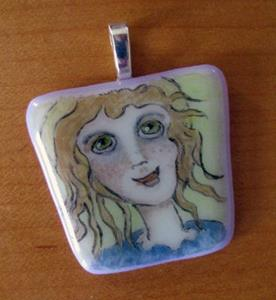 Detail Image for art Little Angel Painted Pendant