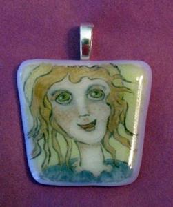 Detail Image for art Little Angel Painted Pendant