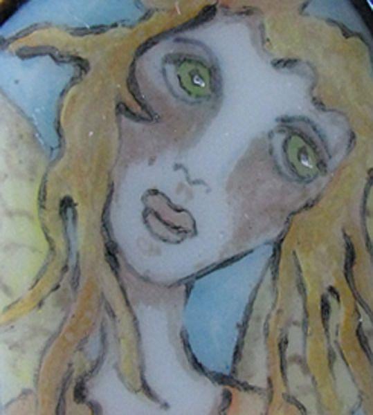 Art: Sweet Angel Painted Glass Pendant by Artist Dianne McGhee