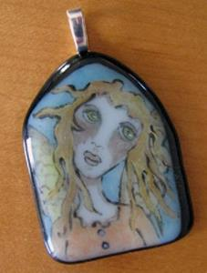 Detail Image for art Sweet Angel Painted Glass Pendant