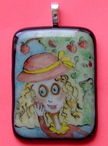 Art: Under the Apple Tree Painted Pendant by Artist Dianne McGhee