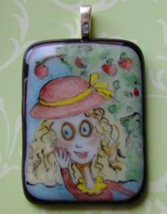 Detail Image for art Under the Apple Tree Painted Pendant