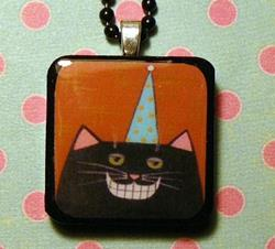 Art: smiley cat art pendant by Artist S. Olga Linville