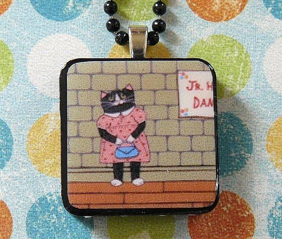 Art: wallflower cat art pendant by Artist S. Olga Linville