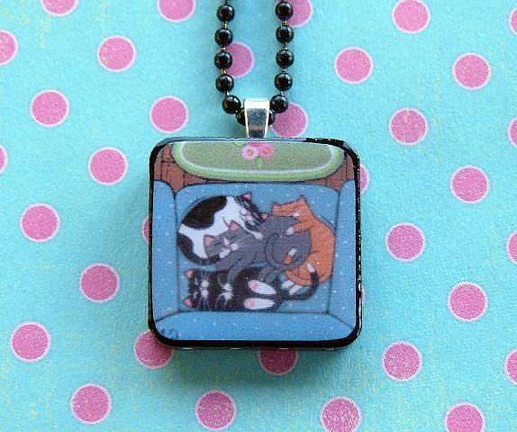 Art: pile o' cats art pendant by Artist S. Olga Linville