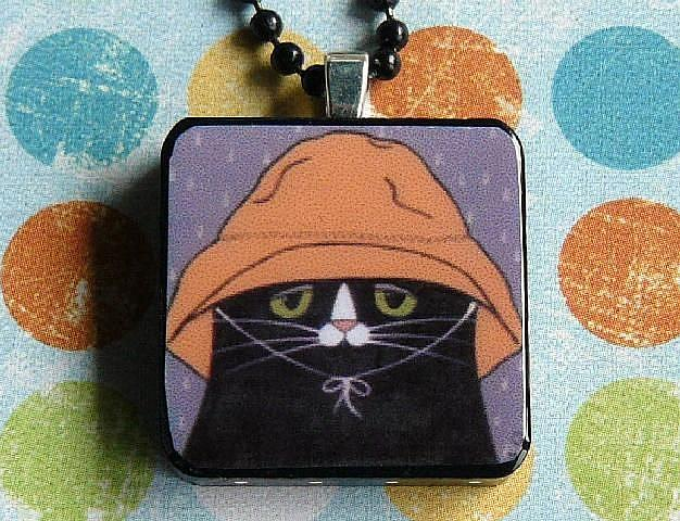 Rain hat cat art pendant by s olga linville from for Cat in the hat jewelry