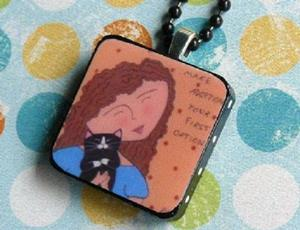 Detail Image for art adopt a cat art pendant