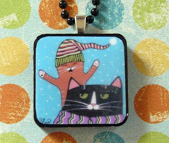 Art: snow cats art pendant by Artist S. Olga Linville