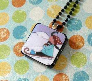 Detail Image for art sledding cat art pendant