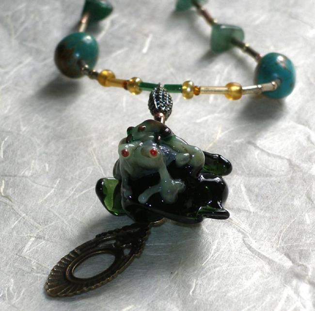 Art: FUNKY fun Frog Necklace by Artist Deborah Sprague