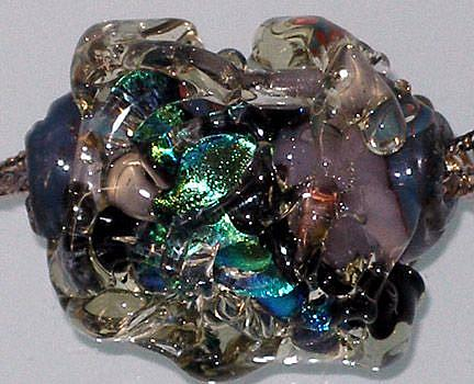 Art: Monet's Waterlily lampwork glass ART Bead by Artist Deborah Sprague