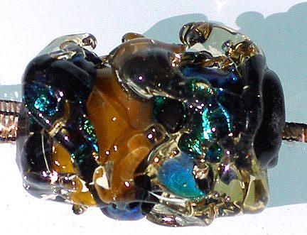 Art: Abstract O'keefe Lampwork focal bead by Artist Deborah Sprague