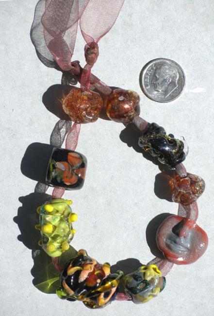 Art: Orphaned LOT #2 Lampwork beads by Artist Deborah Sprague